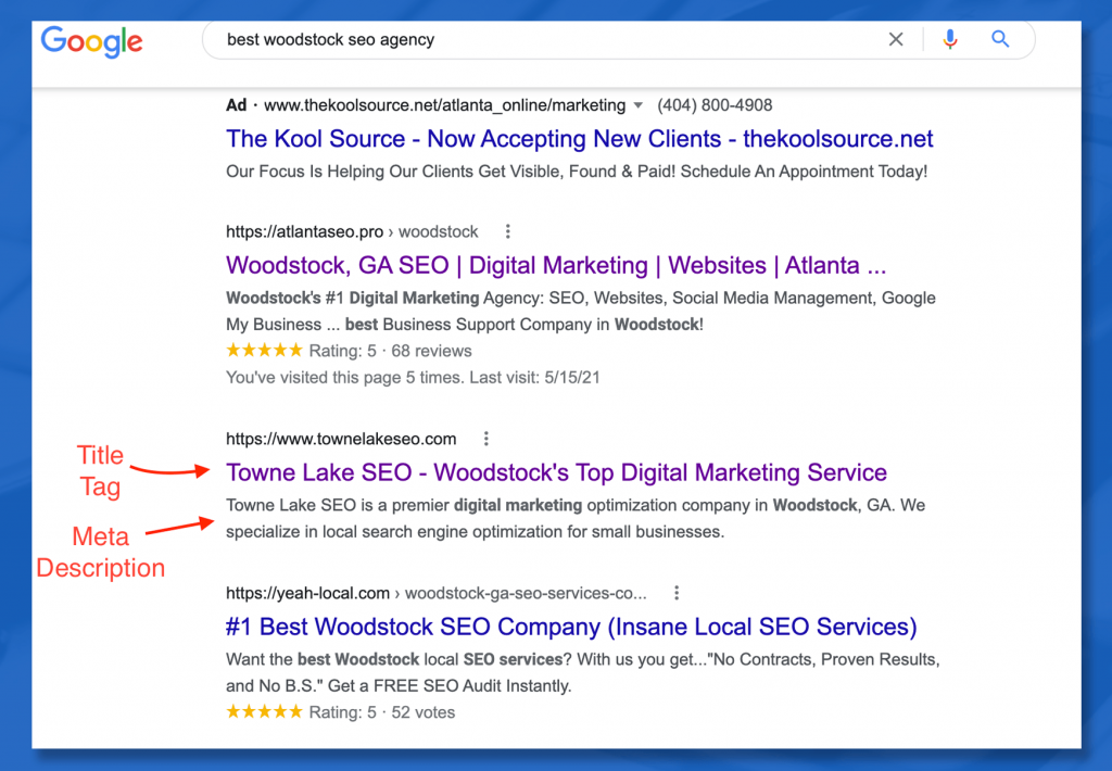 Towne Lake SEO Search displaying how tag attributes are displayed in Google searches