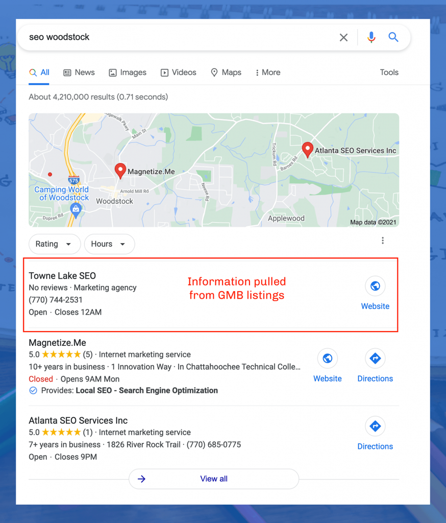 Showing How GMB listings show on search results